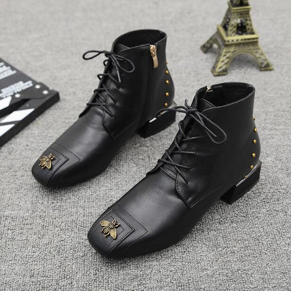New Fashion Womens Ankle Boots Genuine Leather Booties Black Flats Shoes Lady aa0320