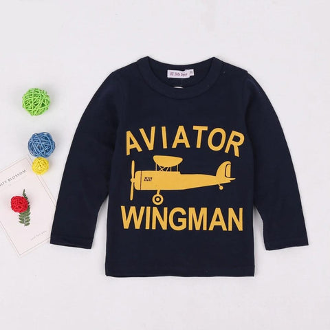 Enjoy Baby Boys Clothes Print Letter Cotton T Shirts Children Tees Boys Long Sleeve T Shirts Kids Tops Cartoon