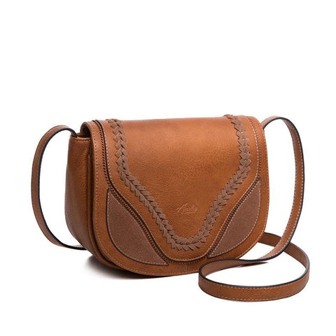 Crossbody Shoulder Bags for Women Causal Hollow Weaving Saddle Handbags Flap Solid Soft High Quality PU Leather