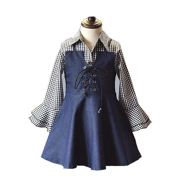 Girls 2 Pcs Clothes Set Long Sleeve Plaid Blouse Shirt and Jeans Overall Elegant Kids Girls Spring Clothing Fashion Children