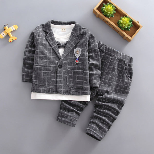 Boys clothing set spring fashion gentleman jacket+T-shirt+pants 3pcs casual suits for boys kids autumn tracksuits boys clothes