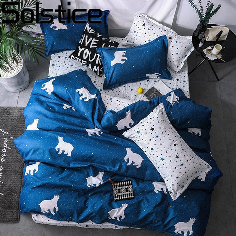 Solstice Home Textile Cartoon Polar bear Bedding Sets Children's Bedding Set Bed Linen Duvet Cover Bed Sheet Pillowcase/bed Sets