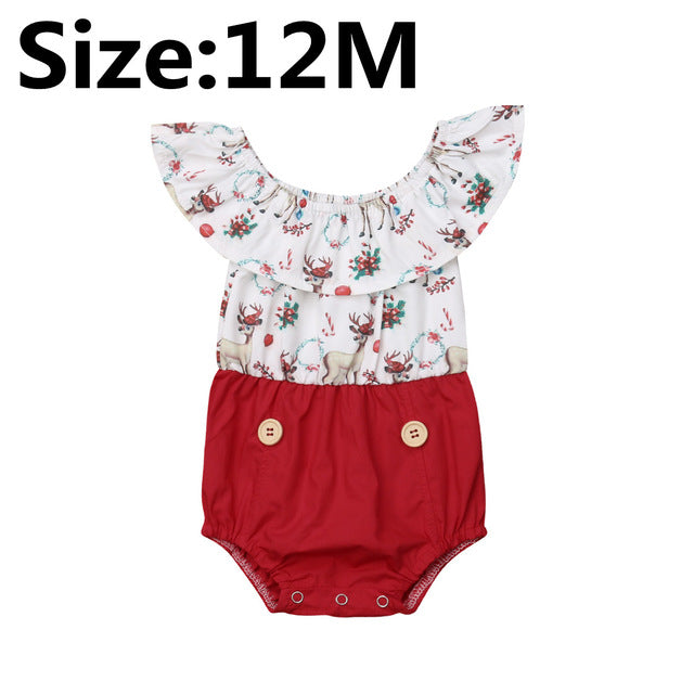 Pretty Kid Baby Girl Christmas Dress Sister Matching Clothes Girls Lace Fly Sleeves Deer Print Romper Tutu Dress Set 0-6Y