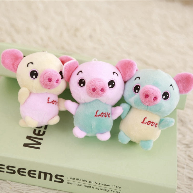 1pc 12cm Lovely Pig Plush Toys Soft Stuffed Animals Mini Piggy Bag Pendant Plush Dolls Key Chain for Children Girls Gifts