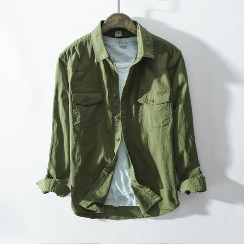 New Arrival Spring And Autumn Men Fashion Green Khaki Color Long Sleeve Cotton Shirt Male Casual Vintage Shirt Clothes