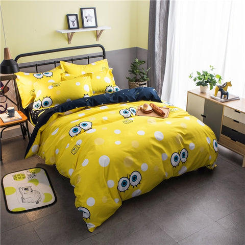 Nordic minimalist cartoon SpongeBob Bedding Set geometric grid 4/3pcs Duvet Cover Sets Soft Polyester Bed Linen Flat Bed Sheet