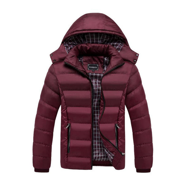 winter fashion men jacket outwear thick warm coat hooded parka men large size l-4xl solid color casual jacket men