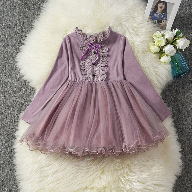 d90dc3479 Long Sleeve Baby Girl Dress Newborn Infant Baby Girls Clothes Bow ...