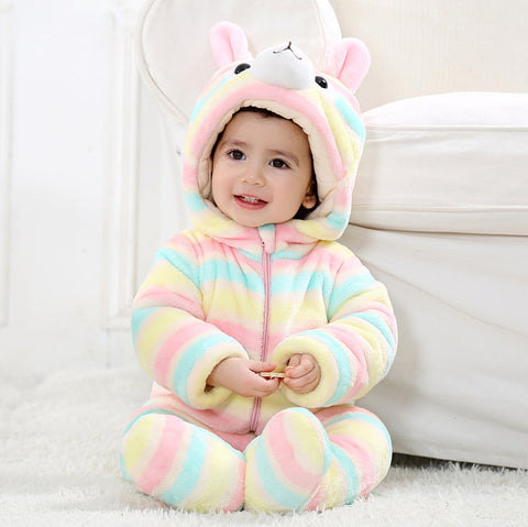 Winter Newborn Baby Boy Girls Flannel Rompers Baby Cartoon Thick Warm Animal Costumes Baby Cute Long Sleeved Hoodie Pajamas