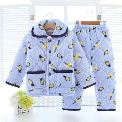 Kids clothes Winter Pajama sets Thicken Pijama set Baby boy Pajamas Printing Children quilt flannel sleepwear Infant pajamas