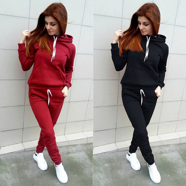 Women Two Piece Sportswear Set Women Winter Autumn Tracksuits Hooded Sweatshirt & Pants Track Suit Hoodie 2 Piece Set