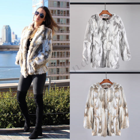 Ethel Anderson Real Farm Rabbit Fur Coat Striped Pattern Full Length Sleeve Coat Hip-Length Outwear