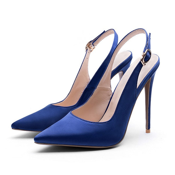 Slingback High Heels Shoes Summer Women Pumps Pointed Toe Stiletto Footwear 2018 New Satin Shallow Fashion