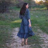 Dress Women New Denim Vestidos Three Quarter Sleeve a-Line Blue Women Vestido Elegant Vintage Denim Dresses