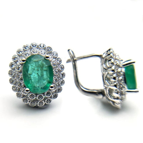 natural 2.6ct green emerald clasp earring 925 sterling silver gemstone fine  jewelry best party gift for mom wife