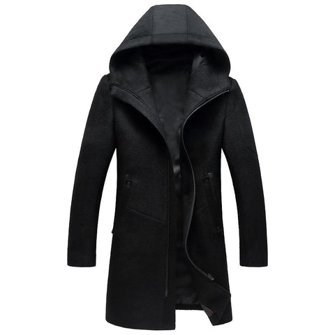 Autumn and Winter New Style Luxury High Quality Men's Wool Coat Thick Warm Zipper Solid Color Trench Coat Jackets for Men