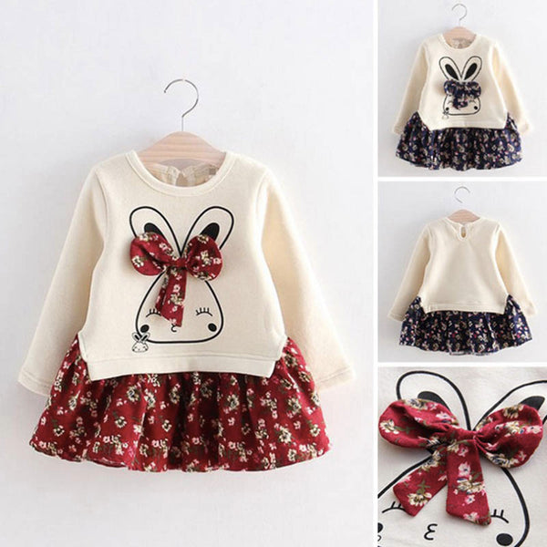 Autumn girl Ruffle dress kids floral Bow tie dresses girls party dress kids girls party dresses