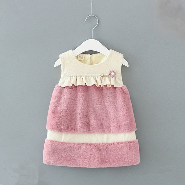 Baby Girls Dresses Winter A-line Faux Fur Velvet Sequined Kids Dress Baby Girls Children Dress with Pearls pink 0-2Y