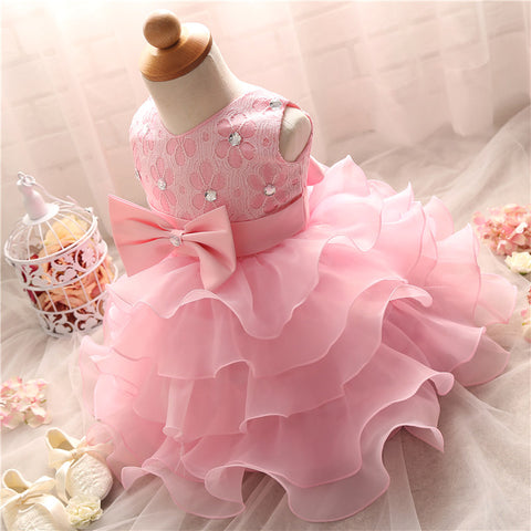 Pretty Baby Girl  Fluffy Infant Christening Gowns Baby Girl 1 Year First Birthday Party Dresses For Girls Kids Vestido Infantil