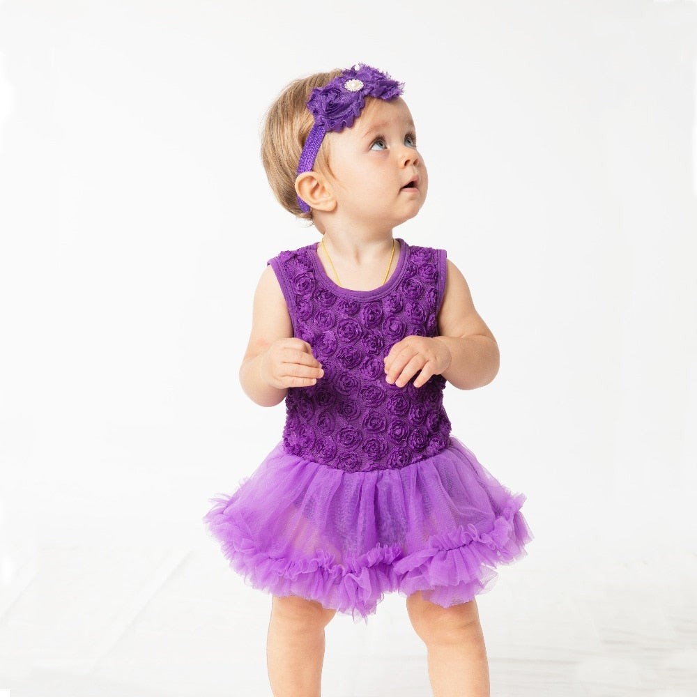 303b0f2be Floral Dress Purple Red purple Black Baby Girl Christening Gowns Sleeveless  Tutu romper Dress 2Pcs 0 ...
