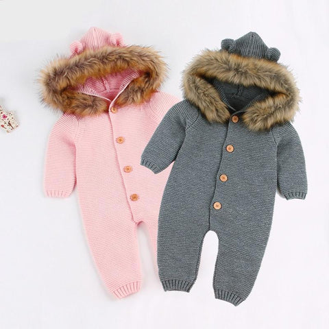 Newest Infant Baby Rompers Winter Clothes Newborn Baby Boy Girl Knitted Sweater Jumpsuit Hooded Fur Kid Toddler Outerwear