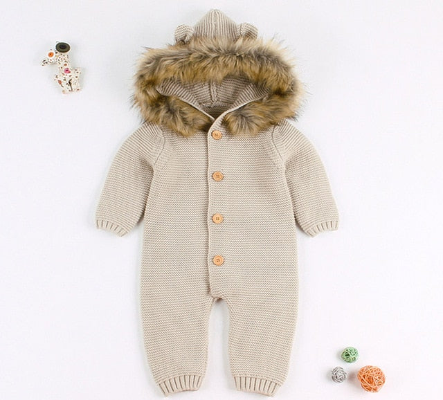 f16ec1b969e ... Newest Infant Baby Rompers Winter Clothes Newborn Baby Boy Girl Knitted  Sweater Jumpsuit Hooded Fur Kid ...