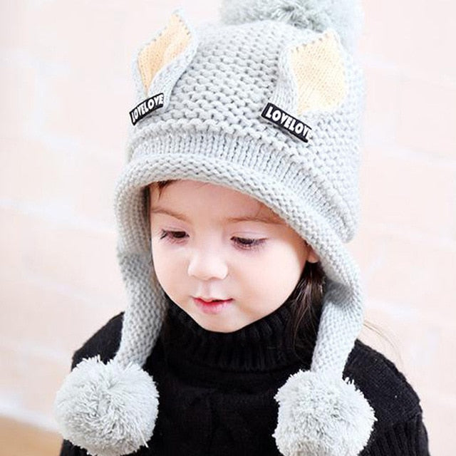 9b087144c99a8 ... 2-6 Y Plus velvet boy Beanies Cat ears wool solid Winter Baby Child  knitted ...