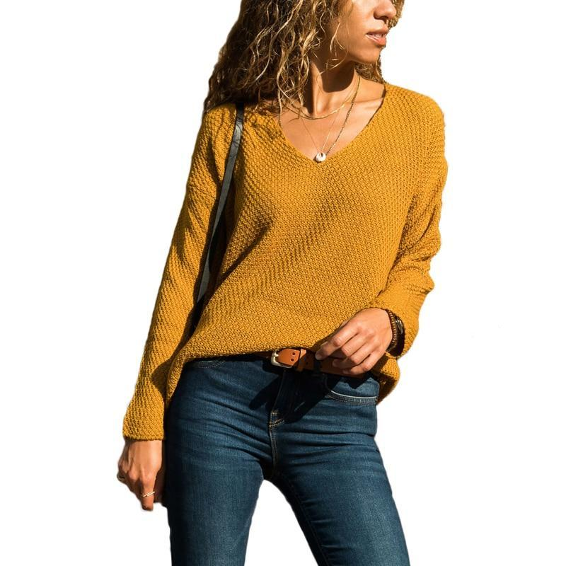 Oversize Sweater Women Pullover Knitted Plus Size V-neck Autumn Winter  Casual Pull Femme Hiver ... ea051bbf6