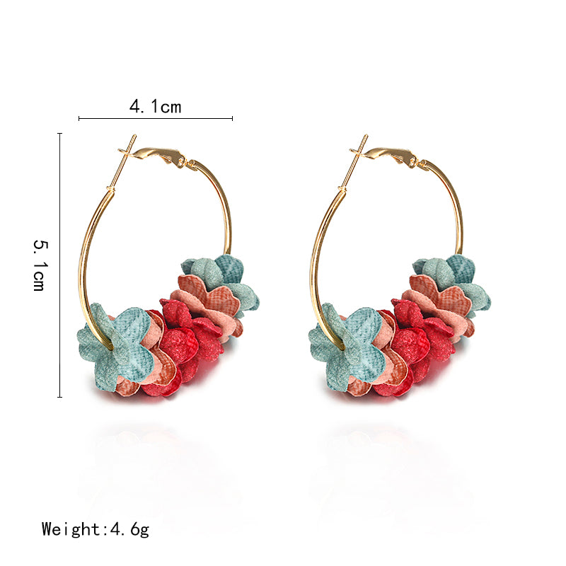 Style Flower Earrings for Girl Women Rond Circle Hoop Earrings Statement Colorful Petal Circle Big Fancy Jewelry