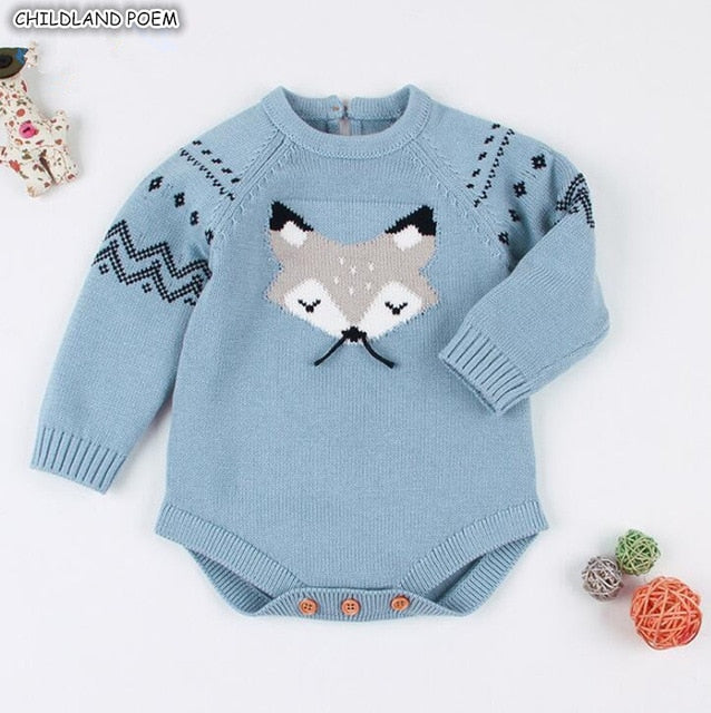 a3eb9a54e Knitted Baby Rompers Winter Baby Boy Romper Cotton Long Sleeve ...