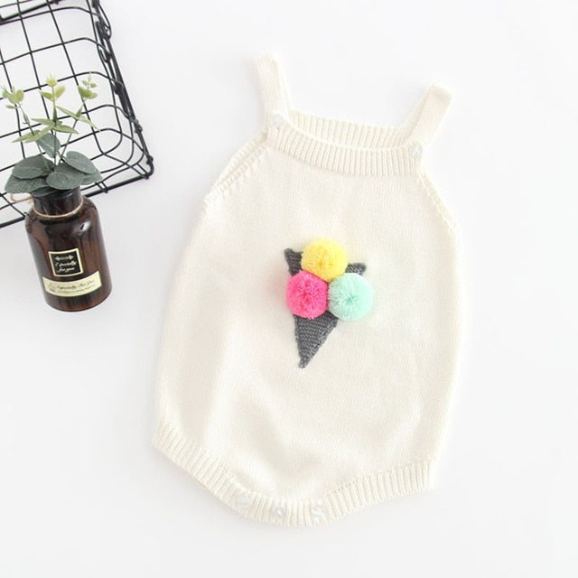 ea630a53cce0 Knitted Baby Clothes Newborn Baby Romper Girl Cotton Ice Cream ...