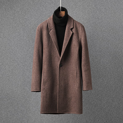 new Winter Cashmere windbreaker Men's high quality alpaca fiber trench coat Men's casual  100% woolen coats men overcoat