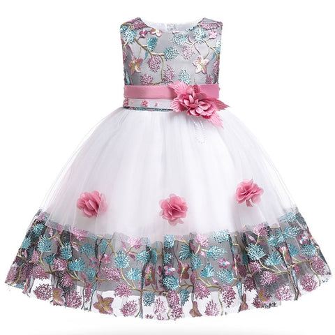 112c0e563 Kids Boutique Embroidered Flower Princess Dress Fresh and sweet banquet dress  summer 3-10 years