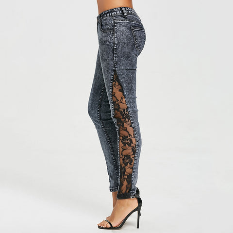 Women Jeans Plus Size Sheer Lace Side Low Waist Jeans Slim Casual Skinny Lace Panel Pencil Denim See Through Pants