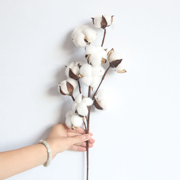 21 inch Naturally Dried Cotton Stems Farmhouse Style Artificial Flower Filler Floral Decor The Exhibition Art Wedding L4