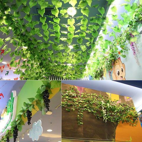Sale 2m artificial green Ivy leaves creeper leaf vines railing flowers Rattan Home Wedding Decor