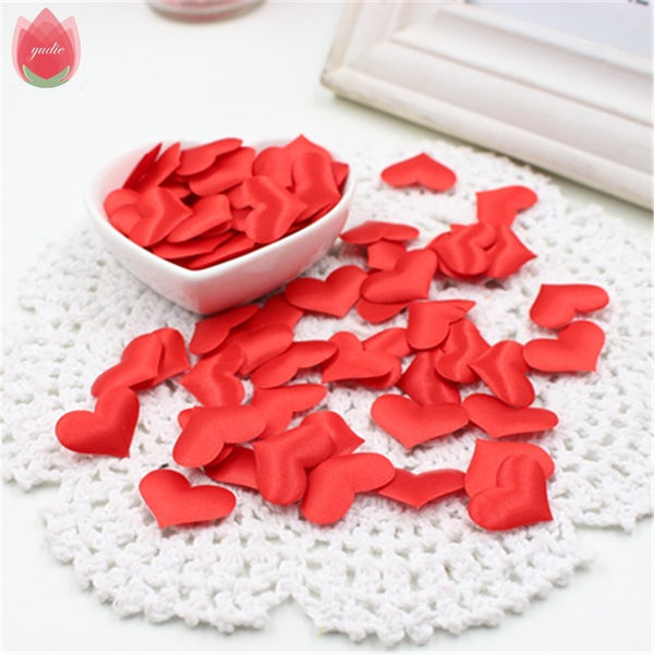 100pcs Silk Cute Heart Cloth Small Decorations For Wedding Home Decoration DIY Hats Shoes Scrapbook Decorative Craft Supplies