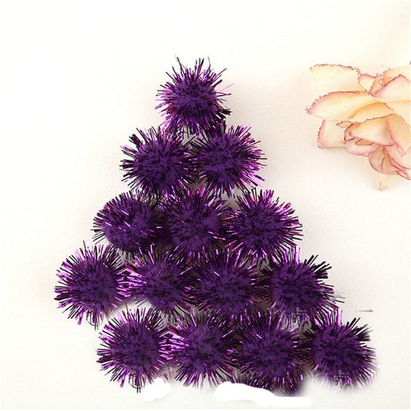 100pcs/lot 10mm DIY Gold thread Soft Pom Poms balls Fluffy Multi option Pompoms Wedding Decoration Accessories