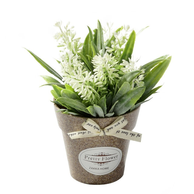 225 & Fake Flowers Grass with Plastic Pot Mini Bonsai Artificial Flowers for Wedding Party Living Room Garden Decoration Farmhouse
