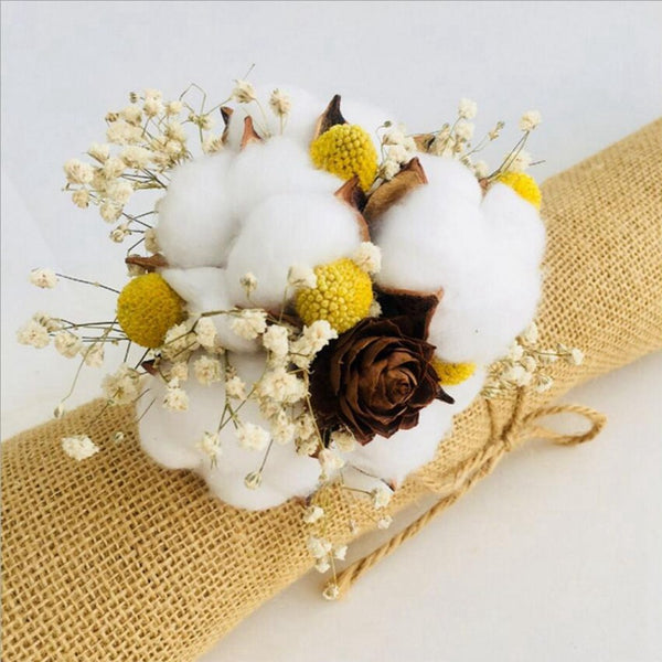 5pcs Artificial kapok head natural dried flower cotton wedding home Christmas decoration supplies DIY wreath bouquet gift box