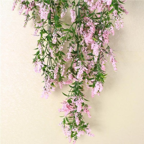 Hot Simulation Lavender Plants Flower Vine Wall Hanging Garland Artificial Ivy Wedding Home Party Decoration #0828