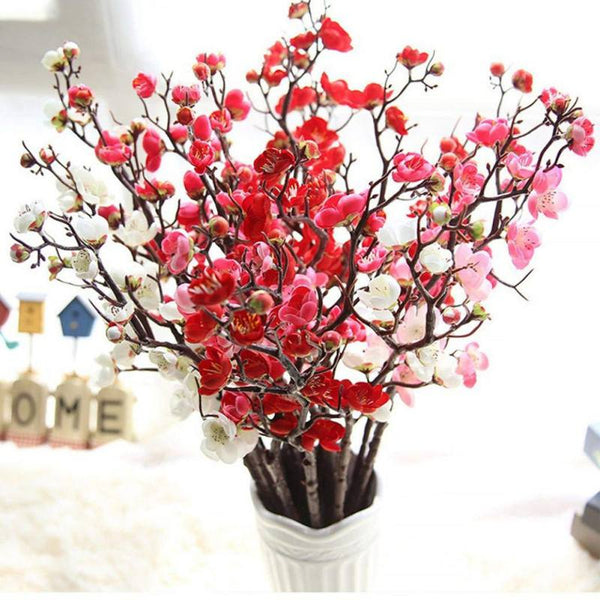 Artificial Flower  Eustoma Christmas Oriental Wedding Decoration Fake Cherry Blossom Chinese Dried Branch Small Plum Fake Flower