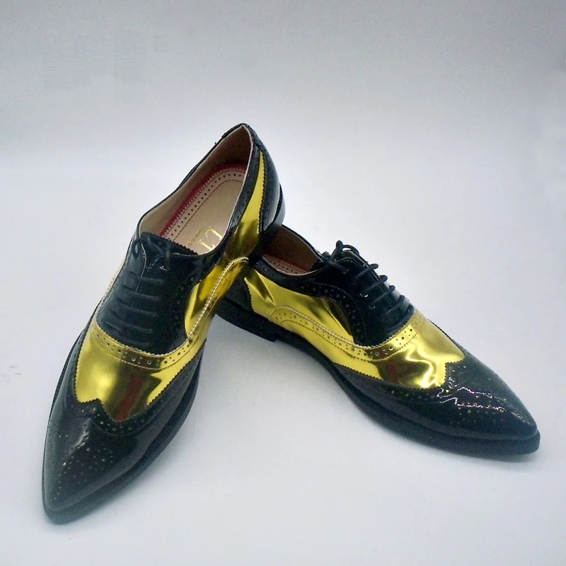 Men/'s Casual patent Leather Pointed Lace Up Wedding Formal Dress Shoes Oxfords