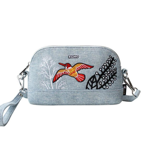 Flower Princess Bird Denim Messenger Bags Women Shoulder Crossbody Bag Girl Ladies Bolsa