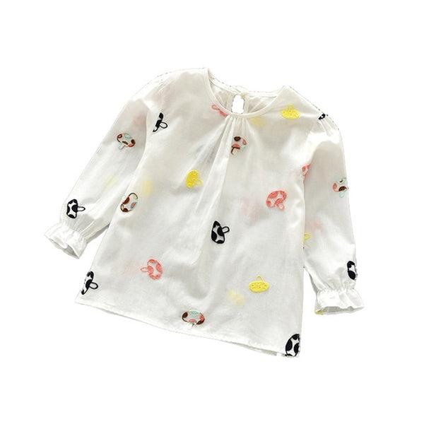 Casual Girls Autumn Spring Floral Cotton T-shirt Children Clothes Baby Long Sleeve Tops Tees Blouse