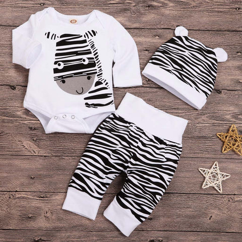 Baby Clothes FASHION Newborn Infant Baby Boys Girls Cartoon Zebra Print Tops Pants Hat Outfits Set L1122