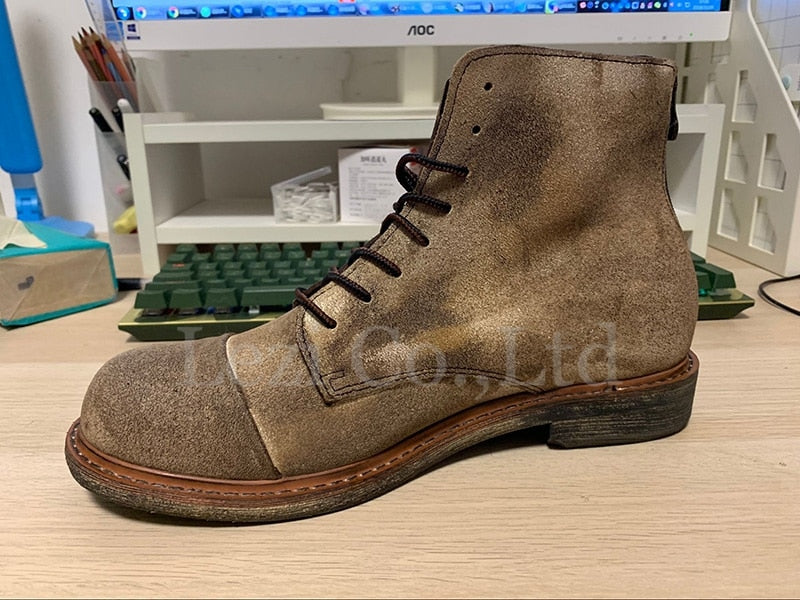 Retro Combat Boots Brown Men Shoes Lace Up Round Toe Military Full Grain Booties Autumn Army Ankle Genuine Leather Luxury