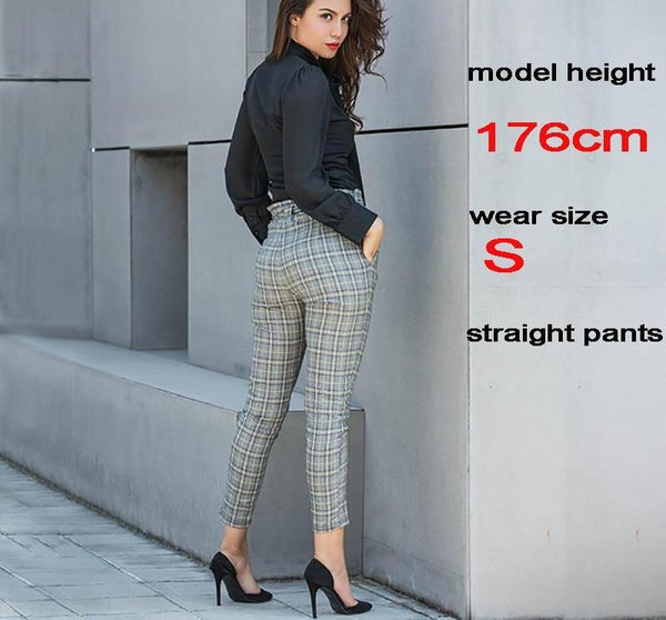 Autumn new casual elastic waist pants women belt yellow gray plaid pants long straight trousers women active wear 81221