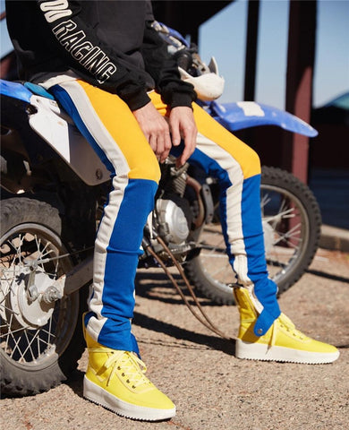 Color Block Patchwork Fit Style Men's Pants with Leg Opening Zipper New Fashion Streetwear Pants Men