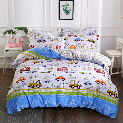 Kids Boys Bedding Set Cars Vehicles Duvet Cover Soft Kids Duvet Cover Set Quilt cover 100% Cotton Bed Set